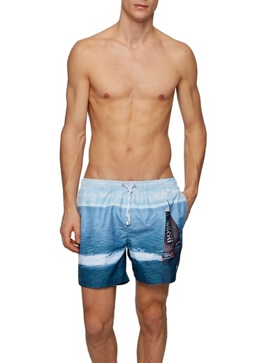 Hugo Boss  Desenli Mayo Short Erkek Mayo Short 50436983 463 Mavi